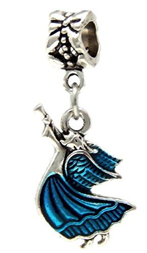 J&M Dangle Blue Enamel Angel with Horn Charm Bead for Charms Bracelets