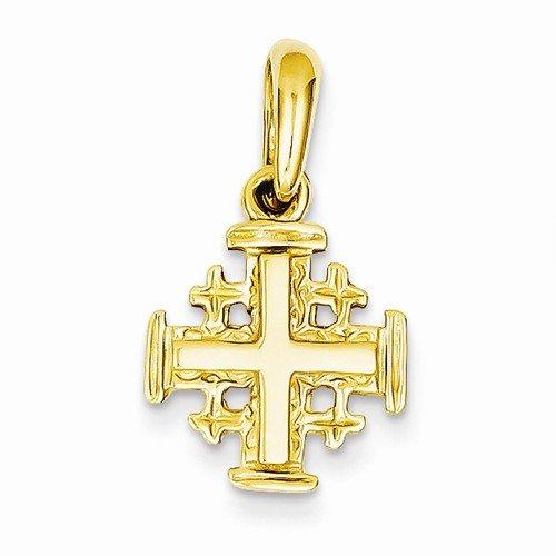 Solid 14k Yellow Gold Jerusalem Cross Crucifix Charm Pendant (23mm x 13mm) (Jerusalem Cross Yellow 14k Gold)