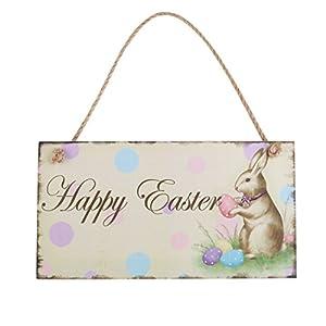 Easter Bunny Decor Easter Door Hanger Happy Easter Rabbit Wooden Hanging Wall Door Decoration Sign