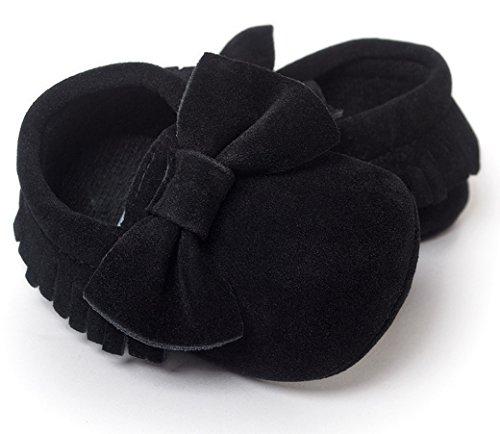 HAPPY CHERRY Nuevo Suaves Zapatos Primeros Pasos Zapatitos sin Cordones PU Borlas Lazo Mocasines para Bebés Niños Niñas 12-18 Meses Color Plata Negro