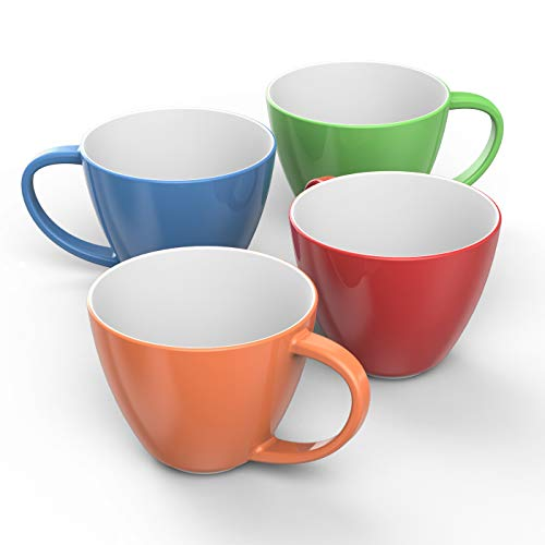 - Francois et Mimi Jumbo Wide-Mouth Soup & Cereal Ceramic Coffee Mugs, 18 oz, Set of 4, Colorful