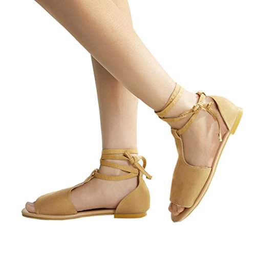 Gladiator Toe Sandals Lady Beach Flat Vintage Ankle Strap Cross Heel Casual Roman Brown Women HLHN Open Shoes tF5xqcwvZA
