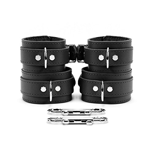 Atlas Wrist and Ankle Cuffs Combo Lambskin Leather Extremely Soft Restraints (Black) by VP Leather