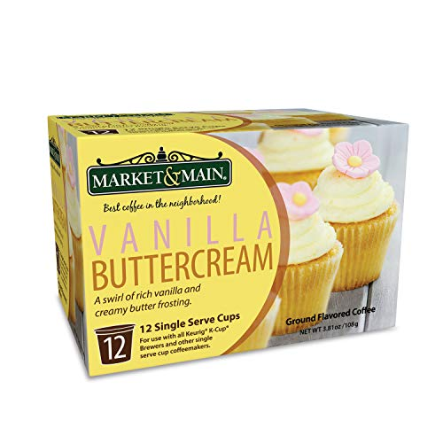 (Market & Main OneCup, Vanilla Buttercream, Compatible with Keurig K-cup Brewers, 12 Count)