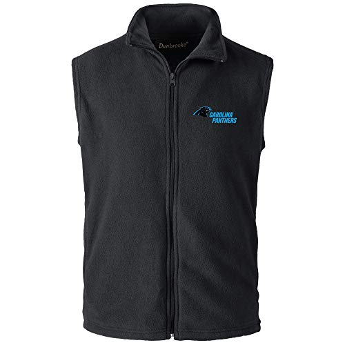 - NFL Carolina Panthers Mens Houston Fleece Vest, Black, X-Large
