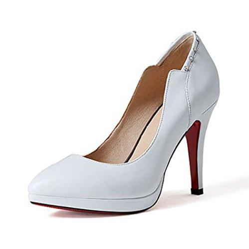 Zapatos De Tacón De Mujer Zapatos De Tacones Altos Con Zapatos De Plataforma De Corte Para Las Bombas De Vestido De Fiesta Diario Zapatos De Boda De Diamante,White-EU:37/UK:4.5