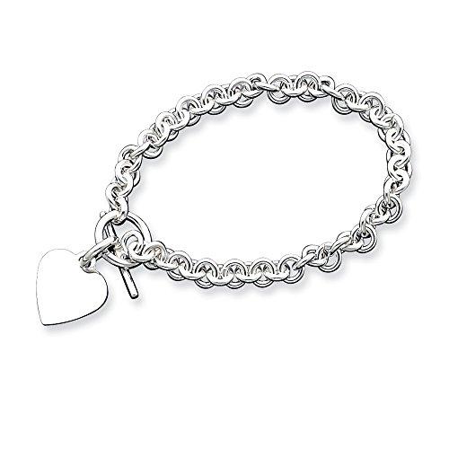 Sterling Silver Engraveable Heart Disc on Fancy Link Toggle Bracelet,8.75