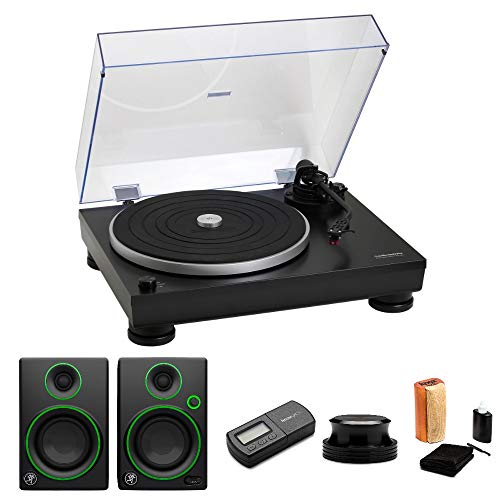 Audio-Technica AT-LP5 Turntable with CR4 Monitors, Knox Record Stabilizer, Stylus Scale and Cleaning Kit