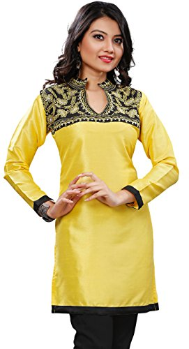 Long India Tunic Top Kurti Womens Blouse Silk Indian Clothing (Yellow, - Churidar Suit Silk