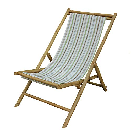 Zew Handcrafted Foldable Bamboo Outdoor Sling Chair with Treated Canvas, 37
