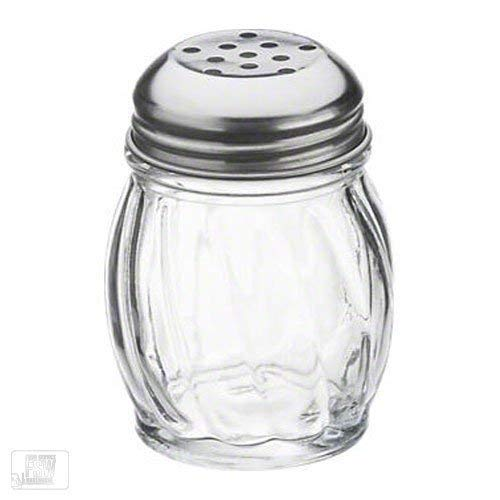 (Royal Industries Swirl Shaker, Plastic Base & Stainless Steel Perforated Lid, 6 oz, Clear, 12 Piece, Commercial Grade)
