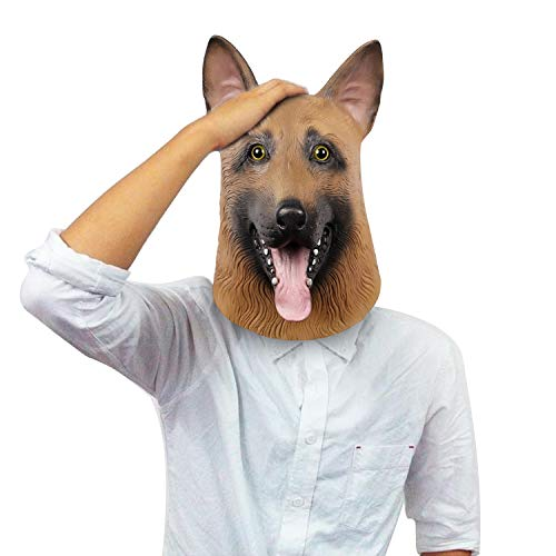 Super Bowl Eagles Underdog Mask, Halloween Dog Head mask, German Shepherd, Latex -