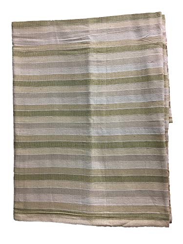 Handloom Indian Gauze Cotton Madras Plaid Striped Natural Earth-Tone Fabric ()