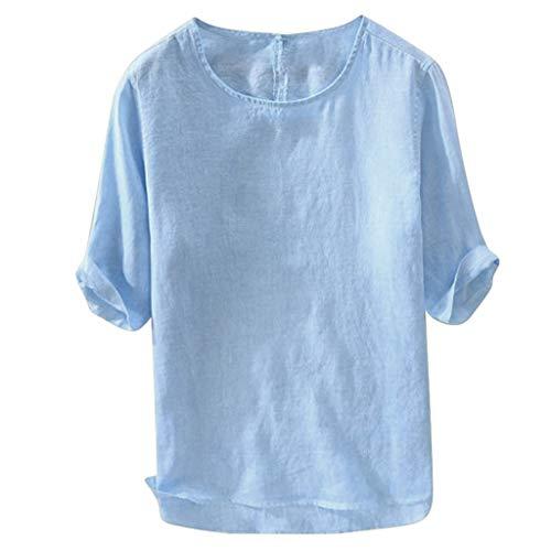 Shirt Short Sleeve Button Down Plaid Shirt Casual Soft Loose T-Shirt Loose O-Neck Tops Breathable Men (L,Blue)]()