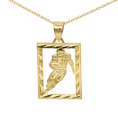 (Ice on Fire Jewelry 10k Yellow Gold Football Pendant Necklace (No Chain))