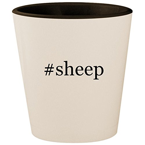 #sheep - Hashtag White Outer & Black Inner Ceramic 1.5oz Shot Glass for $<!--$15.95-->