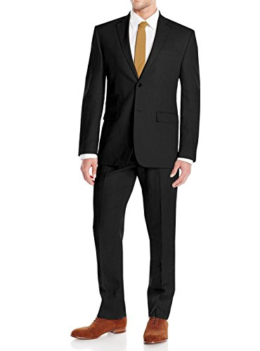 Valentino Designer Suit - Gino Valentino Men's Modern Fit Two Button Two Piece Linen Suit (44 Long US / 54L EU/W 38