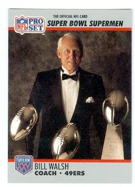 Photo Bill Walsh football card (San Francisco 49ers) 1990 Pro Set #31 Super Bowl Super Men