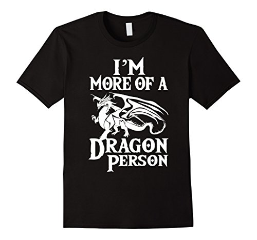 Mens More of a Dragon Person T-Shirt. Role Play RPG Board Game Large (Black Dragon Sleeve Shirt)