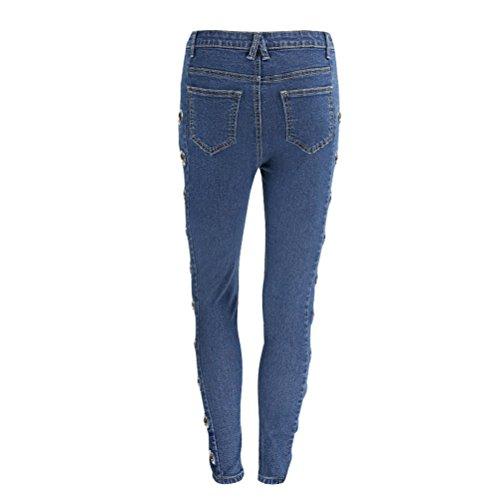 Haute Push Pantalon Crayon Skinny Femme Up Trou Taille Jeans Jeans Chic Slim Stretch Bleu XqEnwzP11x