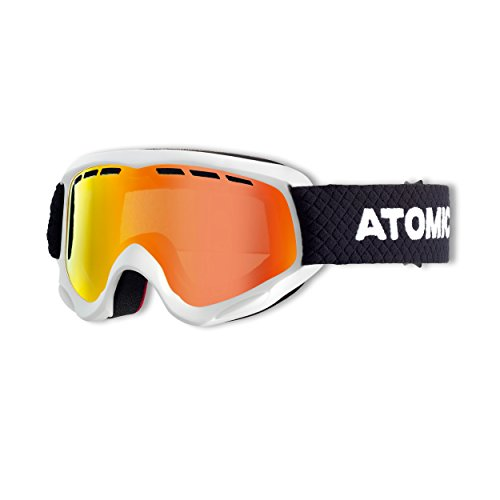 Atomic Mädchen/Jungen Skibrille für Brillenträger, Schlechte Lichtverhältnisse, Passform Junior Fit, Savor JR Rot/Weiß/Schwarz