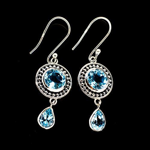 "Ana Silver Co Blue Topaz Earrings 1 3/4"" (925 Sterling Silver) - Handmade Jewelry, Bohemian, Vintage EARR389028 from Ana Silver"
