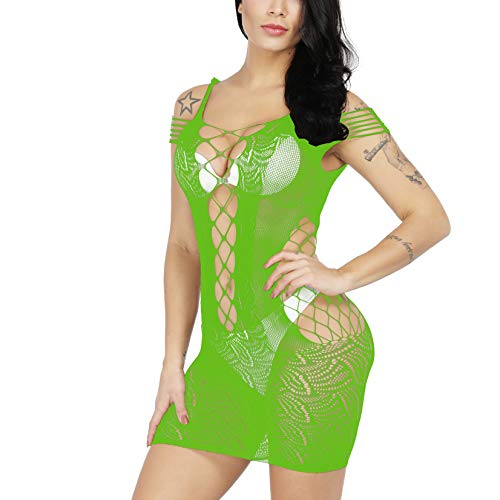 (BECHARNY Women Mesh Lingerie Mini Dress One Piece Fishnet Babydoll Lingerie Plus Size Nightwear Chemise (03 Green))
