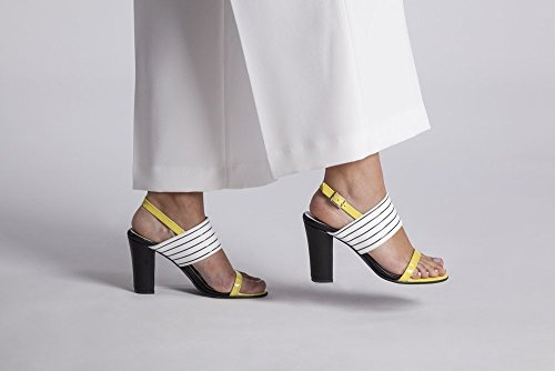 "Yellow Patent and White&Black Striped Italian Leather Dress sandal with a Chunky Block 3.5"" Heel and an Adjustable Slingback strap with Buckle Closure, Women's Designer Handmade Footwear (Patent Footwear Yellow)"