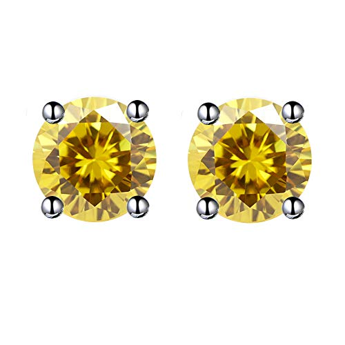 6MM Halo Round Smoked Topaz Yellow Stud Earrings 18K White&Rose Gold Plated with Crystal Fashion Jewelry for Women and Girls (Yellow) ()