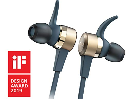 - NuForce BE Live5 Wireless Audiophile Earphones with 8h Battery Life, AAC + aptX, Large 8mm Driver for deep Bass, New Innovative Battery Design and Aluminum housing (Gold)