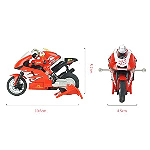 PIXNOR Radio Control Mini Electric Motorcycle 2.4G 3CH Toy RC Vehicles (Red)