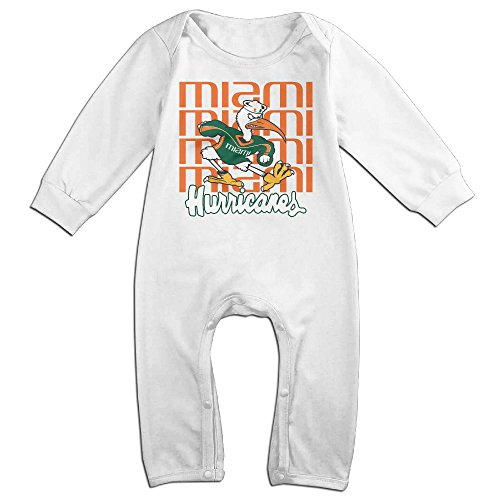 ElishaJ University Of Miami Babys Long Sleeve Onesies White Size 18 -
