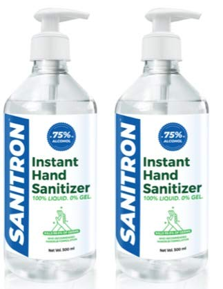 SANITRON Hand Sanitizer Liquid with 75% Isopropyl alcohol (IPA) | Pump Bottle | 500 ml (1 litre) – Pack of 2