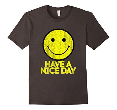 Mens Clothing 1970s (Mens Have A Nice Day Retro Vintage 70s Smiley Face T-Shirt Medium Asphalt)