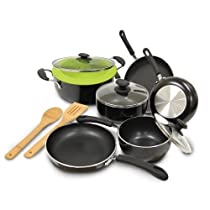 Ecolution Heavy Weight Non-Stick 12-Piece Cookware Set 5 Qt. Dutch Oven with Steam Vented Glass Lid, Silicone Steamer, and 2 Bamboo Tools by Ecolution