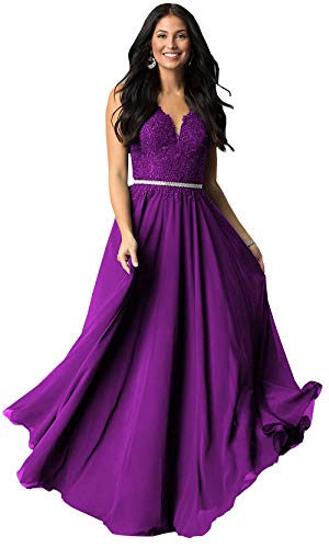 Women's V Neck Beaded Lace Chiffon Plus Prom Dress Long Formal Evening Gown (Purple,16W)