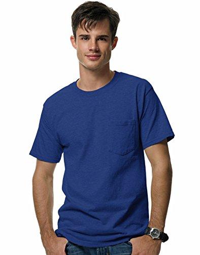 Sleeve Shirt Pique Sport (Men's 6.1 oz Hanes BEEFY-T T-Shirt w/Pocket, Deep Royal, M US (Chest 38-40))
