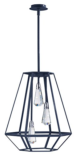 Riga Led (Maxim 21043BCTXB Silhouette 3 Light LED Pendant, Textured Black Finish, Beveled Crystal Glass, PCB LED Bulb , 100W Max., Damp Safety Rating, Standard Dimmable, Shade Material, Rated Lumens)