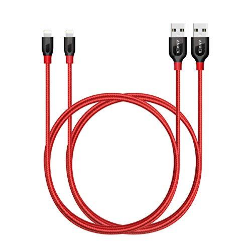 Anker [2-Pack] Powerline + Cable Lightning (3 pies) Cable de carga rápida y duradera [Fibra de aramida y nylon doble trenzado] para iPhone Xs /XS Max /XR /X /8/8 Plus /7/7 Plus /iPad y más ( Rojo)