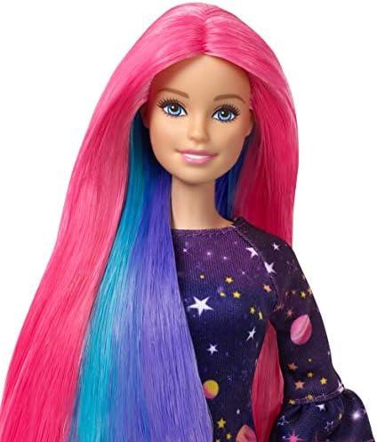 Barbie Fhx00 Haarfarben Spaß Puppe Lila Haare Mit Farbwechsel Inkl Accessoires Und Schablonen Und Galaxie Print Kleid Ab 5 Jahren