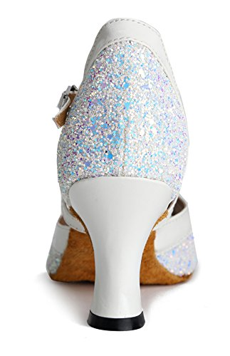 TDA Womens Peep Toe Glitter Synthetic Ankle Strap Tango Ballroom Latin Dance Wedding Shoes 7cm White kyO7Yi