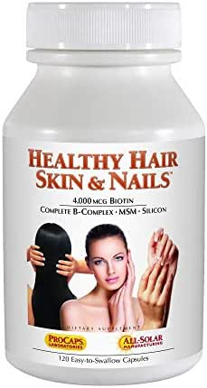 Andrew Lessman Healthy Hair, Skin & Nails – Promotes Beautiful Hair, Radiant Skin and Strong Nails - 4000 mcg High Bioactivity Biotin, MSM, Full B-Complex. No Additives. 120 Easy to Swallow Capsules