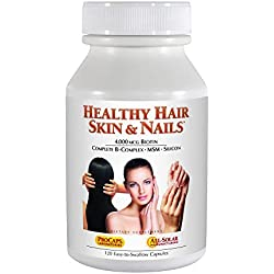 Andrew Lessman Healthy Hair, Skin & Nails - Promotes Beautiful Hair, Radiant Skin and Strong Nails - 4000 mcg High Bioactivity Biotin, MSM, Full B-Complex. No Additives. 120 Easy to Swallow Capsules