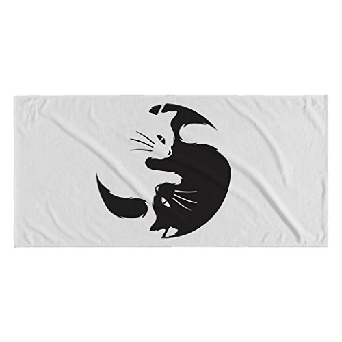 "Ying Yang Cats | Funny White 30"" X 62"" Beach Towel"