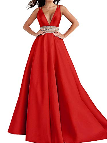 Homdor Long Prom Dresses Beaded V Neck Backless Satin Ball Gowns for Women Formal 2019