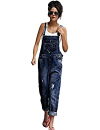 Women's Baggy Dungarees, Loose Denim Jeans Pants Hole Overalls Straps Jumpsuit Rompers Trousers