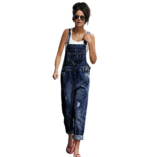 Rambling Fashion New Womens Denim Ripped Hole Bib Overall Jumpsuit Casual Jeans Pants (Blue C, S) ()