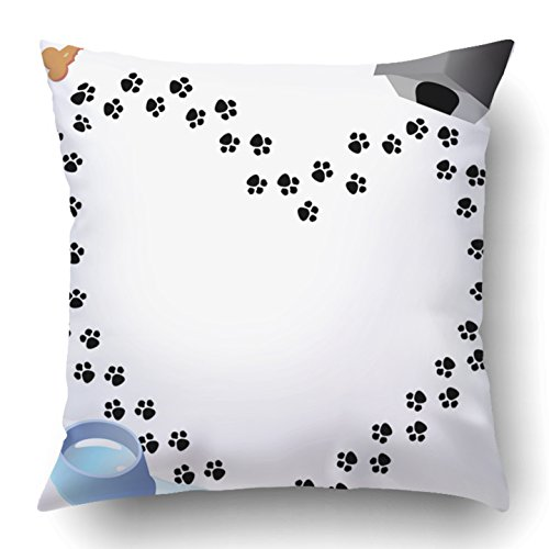 Emvency Throw Pillow Covers Dog Puppy Love Heart Shaped Trail of Paw Prints Through Three Doggy Graphics Animal Bone Bowl Dish Polyester 18 X 18 Inch Square Hidden Zipper Decorative Pillowcase