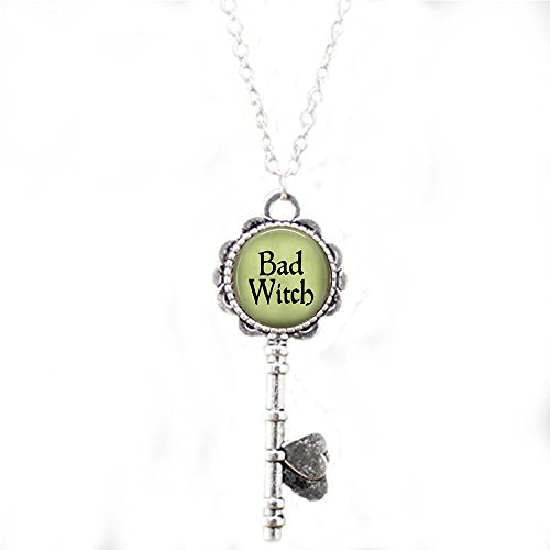 Bad Witch Pendant Necklace - Witch Necklace - Evil Witch Jewelry - Witch Costume Jewelry - Wicked Witch of The West Key Necklace -