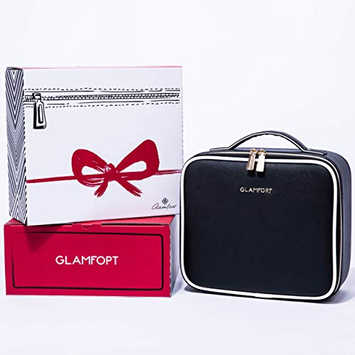 Makeup Train Case GLAMFORT Cosmetic Bag Organizer with Adjustable Dividers Travel Kit Artist Case with Brush Holders (Black Small)